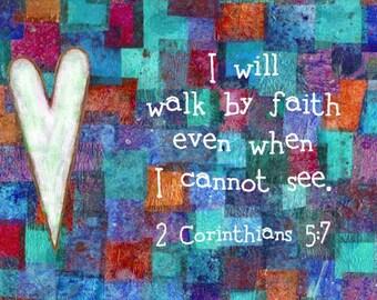 Christian Art Bible Verse Scripture Print 2 Corinthians 5:7 Blue Patchwork
