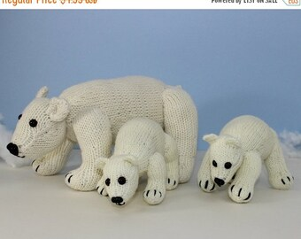 HALF PRICE SALE Polar Bear Family Toy Animal knitting pattern by madmonkeyknits- Instant Digital File pdf download knitting pattern
