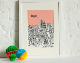 Personalised Boston Print | Unique Wedding Gift | Boston Picture | Boston Art Print | Boston Skyline | Unique Anniversay Gift | Travel Gift