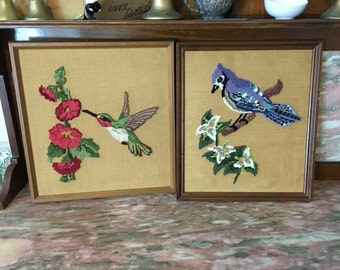 Large Framed Bird Needlepoint Set Hummingbird and Blue Jay 1980 Picture Wallhanging