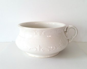 Antique Ironstone Bowl . Large White Chamber Pot . Colonial China Co.