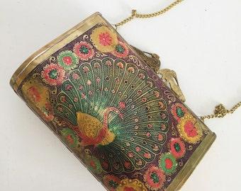 Colorful Metal Peacock Art Nouveau Style Chain Handbag Purse