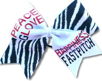 Peace Glove and Happiness Softball Hair Bow