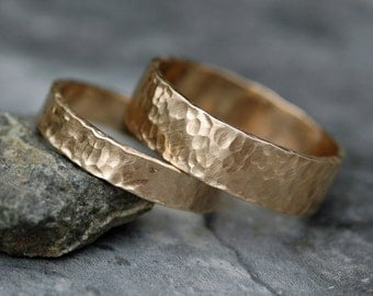 Recycled 14k Yellow Gold Hammered Wedding  Band Set