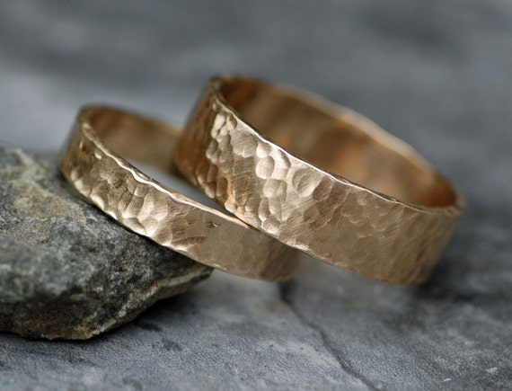 Recycled 14k Yellow Rose or White Gold Hammered Wedding  Band Set His and Hers Couple Wedding  Rings