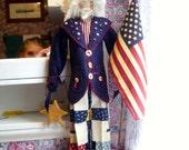 "Handmade Folk Art  Primitive 27""  Doll- Patriotic Uncle Sam"