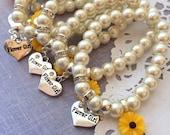 Sunflower, sun flower, stretchy, flower girl, flowergirl, pearl, bracelet. CHILD sized.