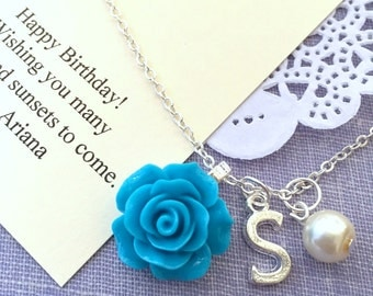 Rose, initial, pearl, BIRTHDAY necklace. Comes with FREE personalized Notecard, Jewelry Box.