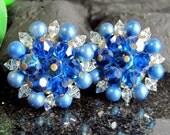Vintage BLUE Aurora Borealis Beaded Earrings AB Teal Clip On