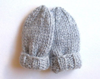 Infant Mittens 0 to 3 Months, Ready To Ship, Light Gray Hand Knit Baby Mittens, Warm Winter Baby Boy Gift Thumbless Mitts Baby Girl Mittens