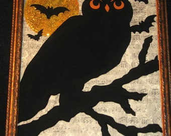READY To SHiP - Hand Painted Halloween Black OWL on Glass - REVERSE PAiNTED - Antique-Look MUSiC Paper - 9x11 Frame - Halloween Decor