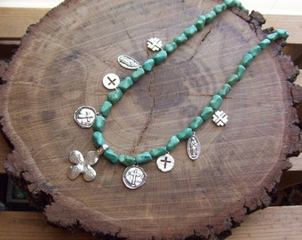 Saints and Sinners, Religious Assemblage, Turquoise Medals Necklace.  Boho, Bohemian Necklace