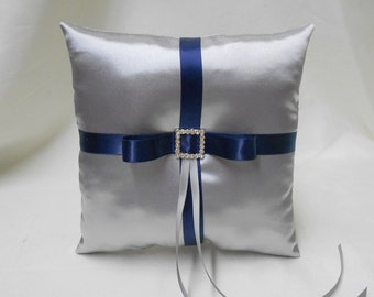 Wedding Accessories Silver Navy Blue Ring Bearer Pillow Your Colors