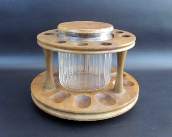 Vintage 9 Pipe Tobacco Stand with Glass Tobacco Humidor Jar. Retro Wood Humidor.