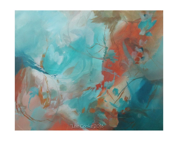 Original Mixed Media Expressionist Art Abstract Painting. Musing136. turquoise burnt sienna ivory Contemporary Modern