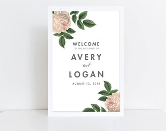Wedding Welcome Sign  Welcome Wedding Sign  Vintage Wedding Sign  Reception Sign  Summer Wedding Sign  Welcome Poster  Printed