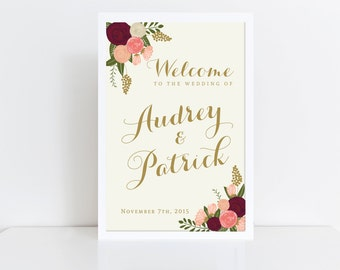 Wedding Welcome Sign  Welcome Wedding Sign  Vintage Wedding Sign  Reception Sign  Fall Wedding / Welcome Poster / Wedding Poster
