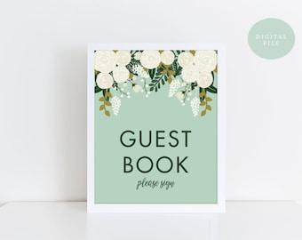 PRINTABLE Guest Book Sign Printable  Vintage Wedding Sign  Botanical Floral Wedding Sign  Wedding Guest Book  INSTANT DOWNLOAD