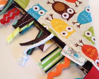 Tag Blanket |  Security Blanket | Sensory Toy | Tags | Semsory | Tag Rag | Owls Bermuda