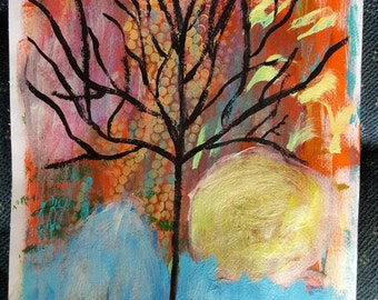 Original OOAK Bright Abstract Textural Mixed Media Moonlit Tree With Aurora Borealis  Painting by Rustysecrets