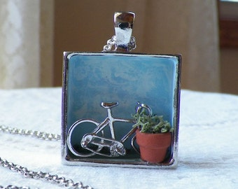 OOAK Miniature Vintage Jewelry Bike / Bicycle / Shadow Box Necklace / Pendant / Miniature Scene, Diorama, Tiny Terra Cotta Plant Pot, Moss