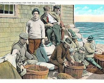 Vintage Cape Cod Postcard - Cape Cod Fishermen (Unused)