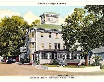 Vintage Martha's Vineyard Postcard - The Mansion House, Vineyard Haven (Unused)