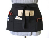 black half apron - black waitress apron - black teacher apron - money apron - vendor apron  - zipper pocket - waist apron - utility apron