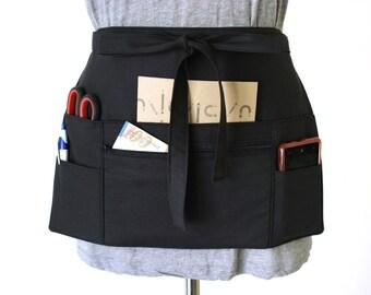 black half apron - black waitress apron - black teacher apron - money apron - vendor apron  - zipper pocket - adjustable  MADE to ORDER
