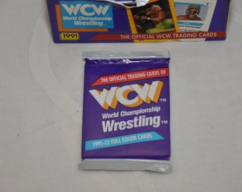 Vintage 90's 1991 WCW Pro Wrestling Trading Cards Pack