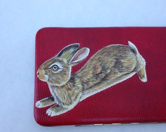 Vegan Hop Away Bunny flat wallet - handpainted, upcycled thin sleek red faux leather flat lizard skin mini clutch - one of a kind, vegan