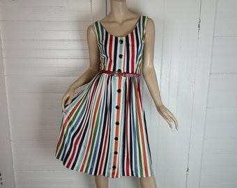50s / 60s Striped Dress- 1960s- Fall Colors & White- Sleeveless, Pleated