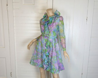 60s Pastel Ruffles Dress- 1960s Short Party Dress- Blue & Lavender- Small