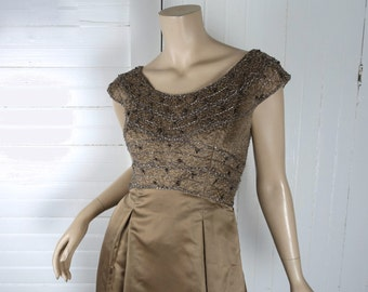 60s Satin Formal- Dress in Mocha- 1960s Beaded Satin- Cap Sleeves, Empire Waist- Light Brown / Taupe- Betty Draper