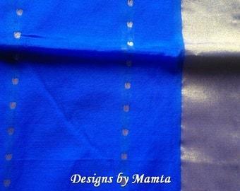 Royal Blue Saree Fabric By The Yard, Ethnic Fabric, Indian Cotton Fabric, Indian Fabrics, Sari Fabric, Border Print Fabric, Handloom Fabric