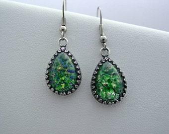 Emerald Sea Green Fire Opal Vintage Glass Cabochon Crown Earrings
