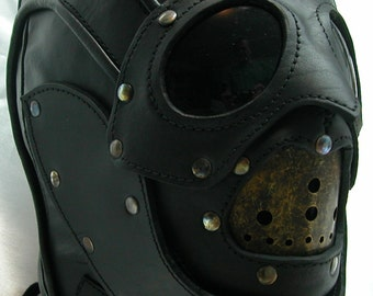 Steampunk Space Demon Ramst leather art hood mask