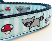 Little Raccoon Family - Dog Collar / Handmade / Adjustable / Pet Accessories / Pet Lover/ Mushrooms / Racoons / Family