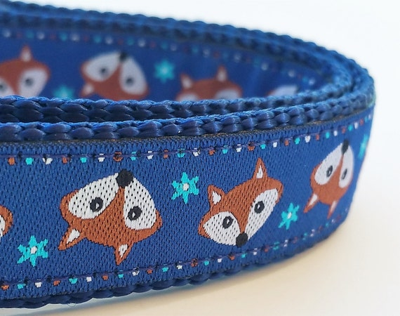 Little Orange Fox - Dog Collar / Handmade / Adjustable / Pet Accessories / Pet Lover / Gift Idea / Navy Blue