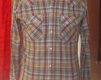 Vintage Plaid Stage Cowboy Western Shirt S