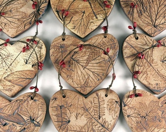 Ceramic Christmas Ornament - Botanical Tree Ornament in Gift Box - 3 Heart Ornaments