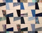 Windmill Pieced Quilt Blocks in Scrappy Blue