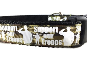Dog Collar, Troops, 1 inch wide, adjustable, quick release, metal buckle, chain, martingale, hybrid, nylon