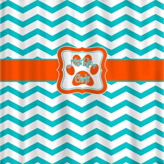 Custom Personalized Chevron Shower Curtain Aqua And By Redbeauty