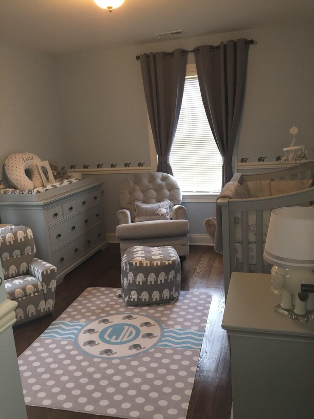 Nursery Elephant Theme Plush Fuzzy Area Rug Grey Polka Dots
