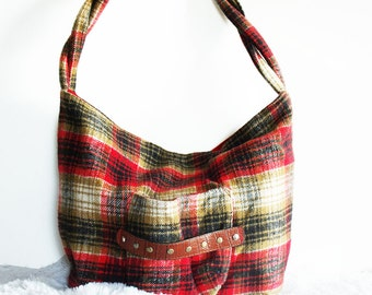 Plaid Handbag, medium brushed fleece shoulder bag with front pocket and twist roped strap, red, black and beige purse