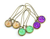 Plum Violet Druzy Earrings Amethyst Purple Druzy Gold Dangles Bright Sparkle Shimmer Luster Everyday High Fashion Style by Mei Faith