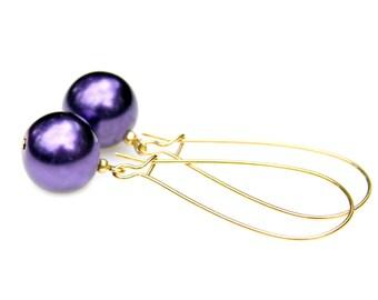 Pearl Gold Earrings Purple Swarovski Pearls Dangle Earrings Amethysy Violet Feminine Flare Classic High Fashion Style by Mei Faith