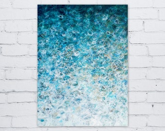 Original Abstract Painting, Surf's Up by Jessica Torrant, turquoise teal white gold ombre Acrylic on 18x24 Canvas Wall Art Modern Home Decor