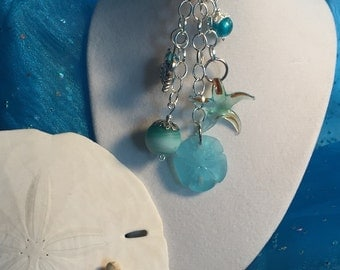 Beach Seaglass with Crab charm Keychain